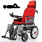 BXZ Silla de ruedas eléctrica de servicio pesado Apoad con reposacabezas, silla de ruedas eléctrica plegable y ligera, ancho del asiento: 45 cm, joystick, plegado eléctrico o silla de ruedas manual p