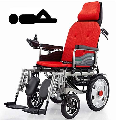 XSARACH elektrische rolstoel met hoofdsteun, elektrische rolstoel, inklapbaar, draagbaar, inklapbaar, breedte van de zitting 45 cm, rugleuning en pedalen verstelbaar