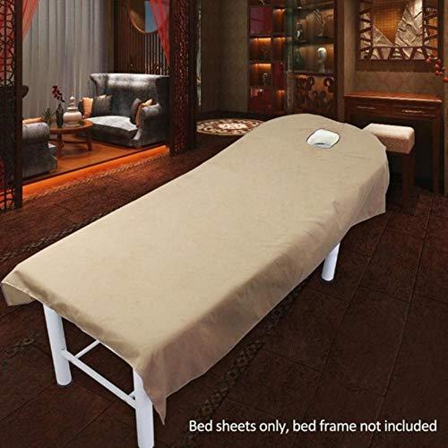 PENVEAT Draps de Couverture de Salon cosmétique Couverture de Traitement de Massage de Spa Feuille de Couverture de Table de lit avec Le Trou # 06, Chameau, 80x190cm