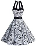 50s Dress A-line Wedding Dress Bird Print White Skull XS