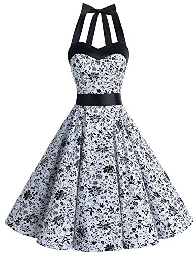 DRESSTELLS Neckholder Rockabilly 1950er Polka Dots Punkte Vintage Retro Cocktailkleid Petticoat Faltenrock White Skull XL