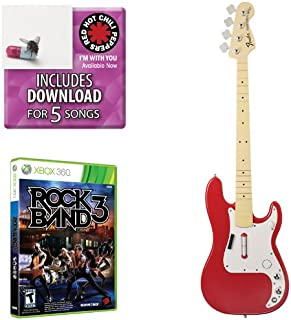 Mad Catz Rock Band 3 Bass Bundle - Includes: Red Hot Chili Peppers Bonus Tracks, Full Game, and Fender Precision Bass Guitar Controller Hot Rod Red for Xbox 360