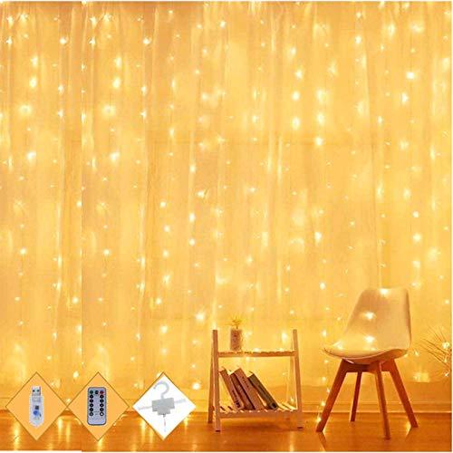 Lichtervorhang Vorhanglichter String Light Kupfer Draht Vorhang Licht mit 8 Modi Lichterketten mit Fernbedienung für Deko Warmweiß