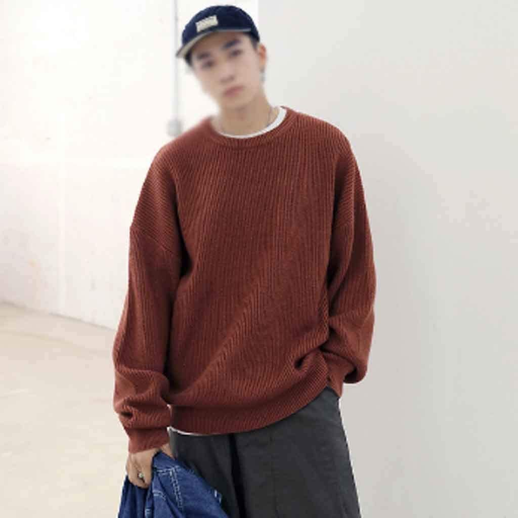 ZYING Men Oversized Colorful Sweater Mens Winter Korean Fashions Sweater Male Pullover Harajuku Solid Sweaters Fashions (Color : XXL Code)