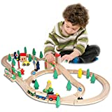 FUNPENY 60 Pcs Wooden Train Set, Colorful Wooden Train Set Table Tracks, Trains, Cars, Boats, and Accessories for Kids, Gift Packed Toy Railway Kits- Kids Friendly Building Toy for 3+ Years Old Kids