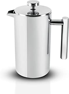 Royalford Cafetiere Portable French Press Coffee Maker Leak Resistant Double Walled Insulation, Silver, 1 litre, Stainless...