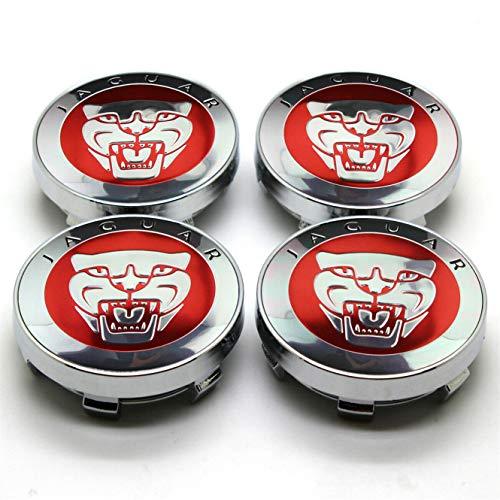 4Pcs 60mm Jaguar Red Car Wheel Center Caps Cubiertas del Cubo Cubiertas del Cubo