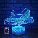 Illusion 3D Voiture de Sport LED Lampe Art Déco Lampe LED 3D Lampe Contrôle à distance 7/16 Couleurs Change Veilleuse USB Powered Enfants Cadeau Anniversaire Noël Cadeau