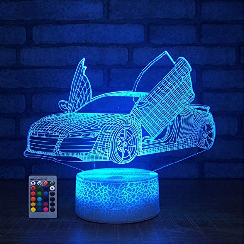 HPBN8 Ltd 3D Auto Lampe 7/16 Farbwechsel Fernbedienung Berühren LED Schreibtisch-Nacht licht mit USB-Kabel Kinder Weihnachten Geburtstagsgeschenke