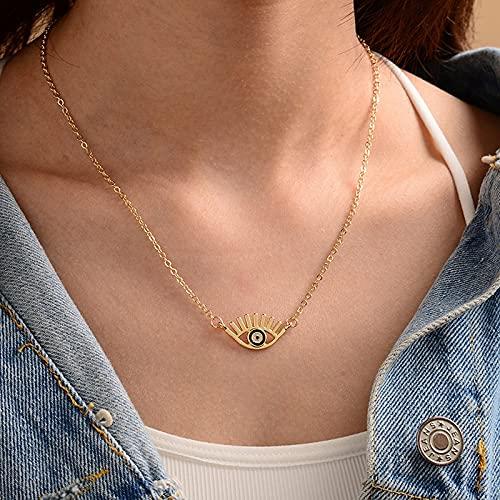 Collar Joyas Mujer Elegante Cadena De Oro Colorido Diamantes De Imitación Llenos De Mal De Ojo Collar De Monedas para Mujeres Collares