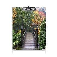 クリップボード アルファベット 自然 金属製強力クリップ 霧の秋の朝の公園緑のサンゴのオレゴン州ポートランド日本庭園の木製の橋