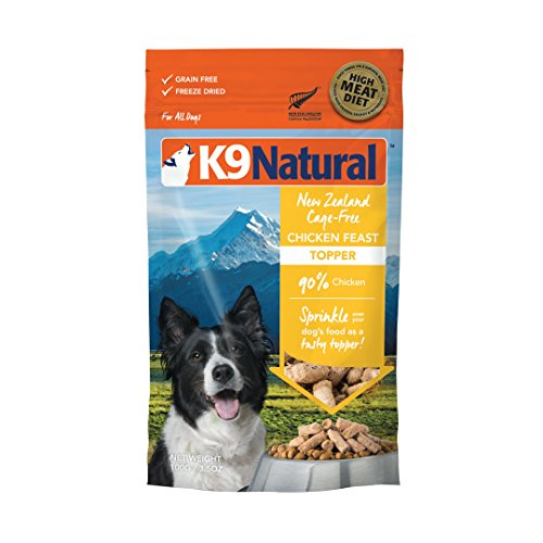 K9 Natural Freeze Dried Dog Food Topper Perfect Grain Free, Healthy, Hypoallergenic Limited Ingredients For All Dogs - Raw, Freeze Dried Mixer - Chicken Topper - 3.5Oz Pack