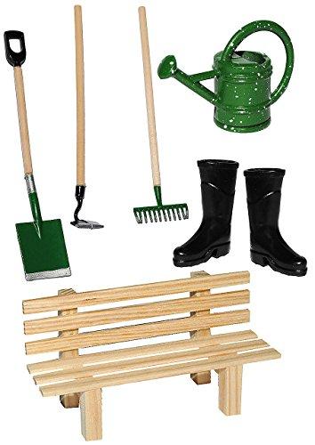 alles-meine.de GmbH 7 TLG. Set: Gartengeräte + Gummistiefel + Gießkanne + Gartenbank - Miniatur - Maßstab 1:12 - für Puppenstube - Puppenhaus - Garten Deko - Klein - Kleingarten ..