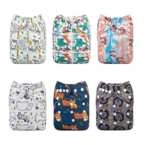 Alva Baby - Pañales de tela reutilizables (6 unidades), lavables, 6 unidades de pañales + 12 paños interiores Neutral Color 6DM45 Talla:All in one