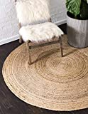 Unique Loom Braided Jute Collection Hand-Woven Natural Fibers Natural/Tan Round Rug (6' 0 x 6' 0)