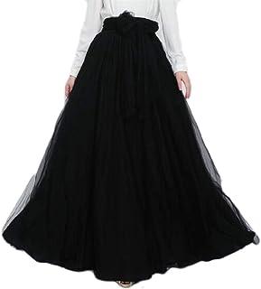 GAGA Women Summer High Waisted Layered Elegant Tulle Mesh Maxi Skirt