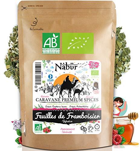 Nabür - Tisane Feuilles de Framboisier BIO 205 gr ⭐ Tisane Allaitement, Tisane Accouchement Grossesse, Tisane menstrue Nausée, Règles
