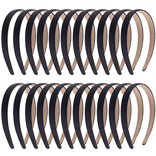 Duufin 22 Pieces Satin Headbands 2cm Hard Headbands Black Plain Headbands DIY Headband Bulk Non-slip Hair Headbands Pack for Women and Girls