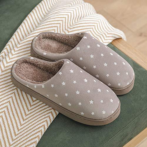 Nwarmsouth Calzado sin Cordones para Interiores y Exteriores,Zapatos Antideslizantes de algodón con Suela Blanda, Pantuflas cálidas de Interior-Coffee_40-41,Zapatillas de casa Ant