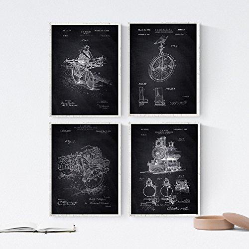 Nacnic Negro - Pack de 4 Láminas con Patentes de VEHICULOS. Set de Posters con inventos y Patentes Antiguas. Elije el Color Que Más te guste. Impreso en Papel de 250 Gramos