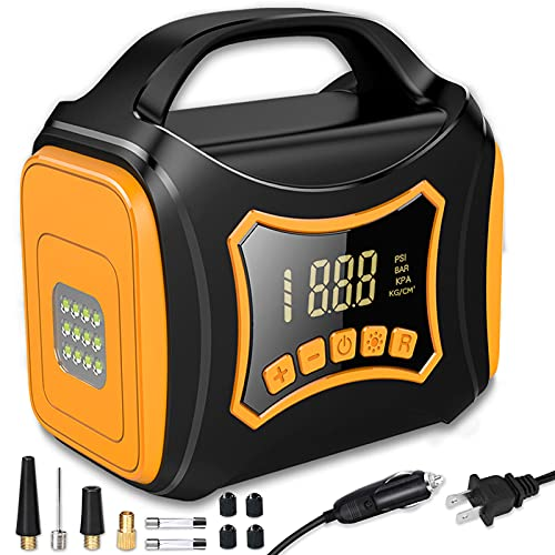 Kodagia Tire Inflator Portable Air Compressor, 12V DC/110V AC Dual Power Electric Tire Pump for Car Tire, Bicycle, Ball and Other Inflatables. with Digital Pressure Gauge, Led Light, Auto Shut Off