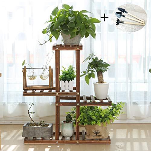 Wooden Plant Stand Shelf 4 Tier Flower Pot Holder Display Multi-Shelvings Storage Rack for Plants Displaying Home Garden Patio Corner Outdoor Indoor (C2 Without Wheels)