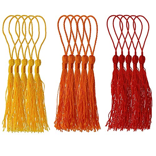 ZMYY 90-100 Pcs Handmade Tassels Silky Soft Craft Colorful Tassel for DIY Making Graduation Cap Keychain Wall Hanging Decoration16 Colors 6 Group Series (yellow+Orange+red)
