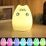Excelvan - LED Nachtlicht Kinder Silikon Katze Nachtlichter USB Aufladung 1200mAh...