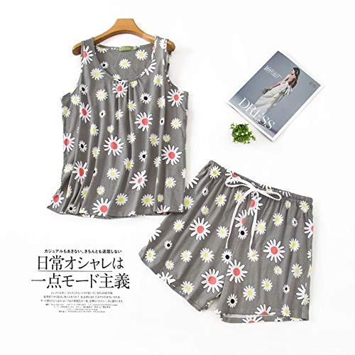 WSDMY Plus Size Cute Bear Shorts Pyjamas Sets Koreanische 100% Baumwolle Ärmellose Sweet Cartoon Sommer Shorts Nachtwäsche Damen Pyjamas M NWXT-1