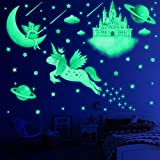 194 PCS Glow in The Dark Stars for Ceiling, Wall Decals for Girls Bedroom, Unicorn Room Decor for Girls Bedroom, Moon Castle Butterfly Fairy Planet Wall Stickers for Kids, Birthday Gift for Kids