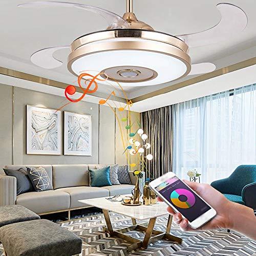 37 Pulgadas De La Lámpara Moderna con Cuchilla Retráctil Ventilador De Techo con Luces LED, Conexión Bluetooth para Teléfonos Móviles con Música Lámpara del Ventilador,E