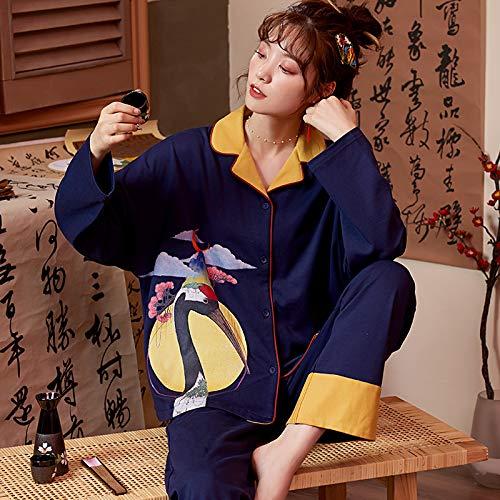 Pijama Para Mujer,Grúa Voladora Impreso Collar De Abajo Diseño Pjs Traje De Pijama De Dos Piezas De Manga Larga Tops Pantalones Set Casual Loungewear Nightwear Para Mujeres Adultas Jogging Trajes D