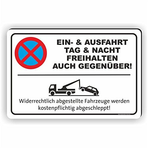 EIN- UND AUSFAHRT AUCH GEGENÜBER - Parken verboten Schild / PV-023 (45x30cm Schild)