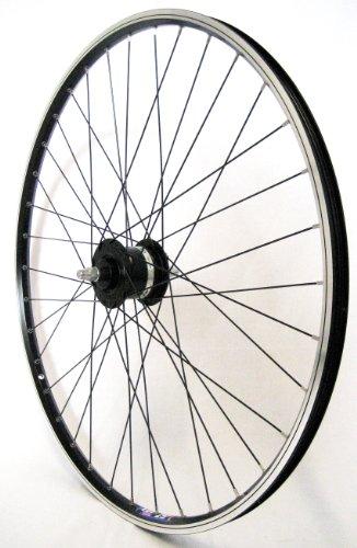 28 er Vorderrad Fahrrad Hohlkammerfelge Cut 19 Shimano Nabendynamo DHC 30003 Vollachse schwarz für V-Brakes/Felgenbremse