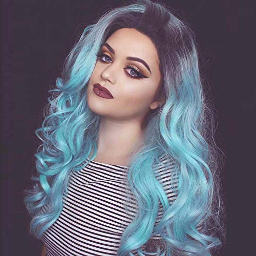 SiYi Light Blue Wigs for Women 27'' Long Wavy Wigs Black Root Ombre Blue wig Heat Resistant Wig