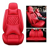 FLY5D Car Seat Covers Full Set with Waterproof Deluxe Leather,Airbag Compatible Automotive Vehicle Cushion Cover Universal fit for Most Cars (Red)