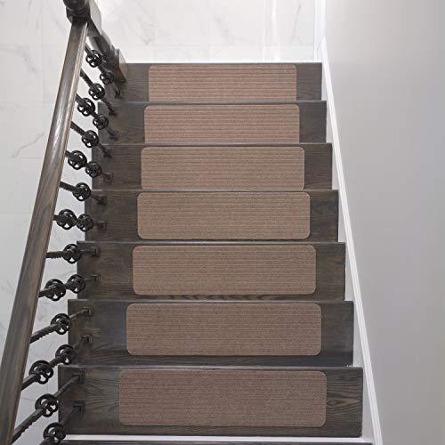 Stair Treads Collection Indoor Skid Slip Resistant Carpet Stair Tread Treads (Dark Grey, Set of 13...