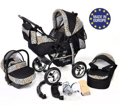 Kamil - Sistema de viaje 3 en 1, silla de paseo, carrito con capazo y silla de coche, RUEDAS ESTÁTICAS y accesorios (Sistema de viaje 3 en 1, negro y leopardo)