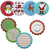 8pcs set Christmas Ceramic Coasters Drink Coaster Deer Coasters Coffee Bar Mat Snowman Decor Cup