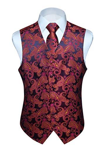 Hisdern Manner Paisley Floral Jacquard Weste & Krawatte und Einstecktuch Weste Anzug Set, Rosa und Gelb, Gr.-L (Brust 46 Zoll)