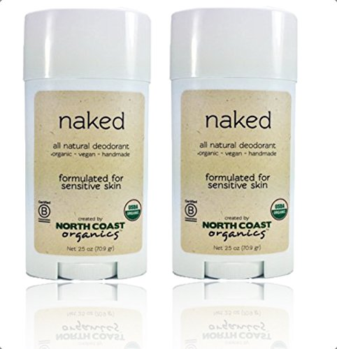 North Coast Organics All Natural Unscented Deodorant: Naked 2.5oz - Aluminum, Paraben, Sulfate, Cruelty, and GMO FREE - 2 Pack