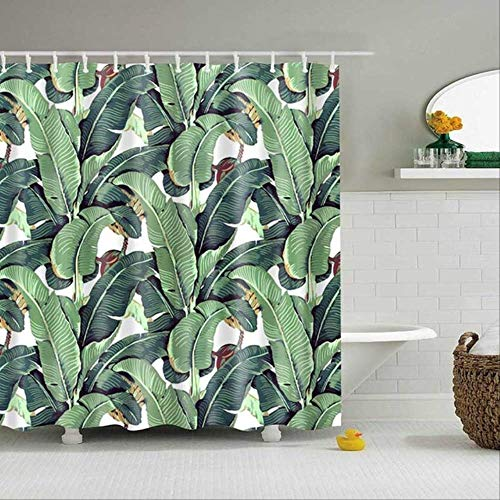 LEELFD Cortinas de Ducha de Plantas Tropicales Verdes baño Cortina de Ducha de poliéster Impermeable Hojas Cortinas de impresión para Ducha de baño 90x180cm 05