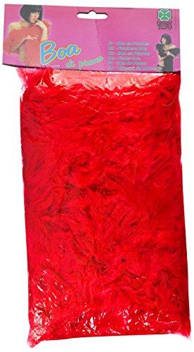 Carnival 08220 - Boa di Piume Lusso Rosso in Busta con Cavallotto, 180 cm, circa 55/60 gr.