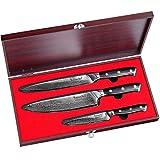Sunnecko Set Couteau Cuisine Couteaux Damas 3 Pcs- Couteau...