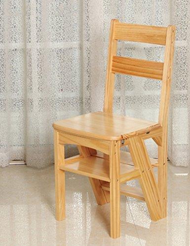 ZfgG Escabeau en Bois Massif à Double Usage pour Une Chaise Chaise Pliante Tabourets multifonctionnels de ménage des échelles Multi-usages à 4 Niveaux (Color : C)