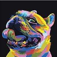 大人と子供のための数字キットによるペイントDIY油絵デジタルカラフルフレンチブル-キャンバスウォールアートホーム16X20インチ(フレームなし)