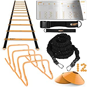 Ulimate Speed Training Set - Agility Ladder, Bungee Resistance Cord, 4 Adjustable Hurdles, 12 Sport Cones and Exercise Folder - Premium Training Kit for Increased Acceleration & Speed from Scandinavian Sports