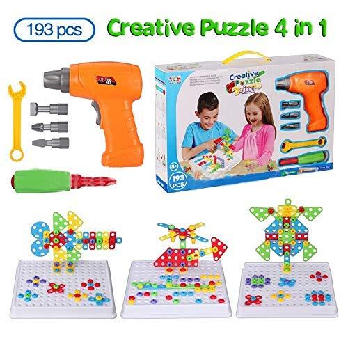 4 in 1 Electric Drill-Spielzeug-Set, kreative Puzzles Versammlung DIY Spielzeug, Baugewerbe Gebäude-Spielzeug, 193 PCS mit 18 Tierkarten zcaqtajro
