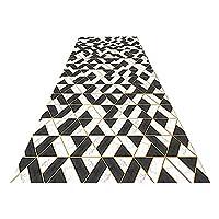 LXF 廊下敷きカーペット 幾何学デザインキッチンランナーラグ、ポーチ/キッチン/エントリーウェイ/ランドリールーム/バスルーム用のブラック/ホワイトエリアラグ (Color : 0.6cm, Size : 60×500cm)