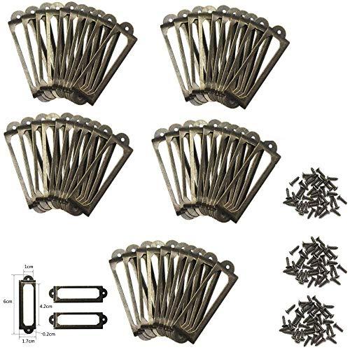 Yfmd, Etikettenhalterung im antiken Messing-Metall-Design für Aktenschrank, Bücherregale, Schubladenschrank (50 Stück)